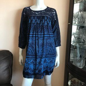 Free People Lace Navy Blue & Blue Print Tunic Top